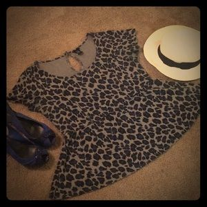 Peplum cheetah top blue and grey
